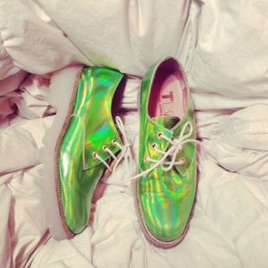 SOLD TBA green holographic Oxford shoes